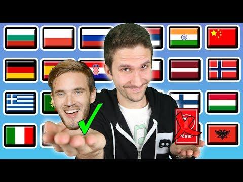 "PewDiePie vs T-Series - How To Say ""BITCH LASAGNA!"" in 24 Languages"
