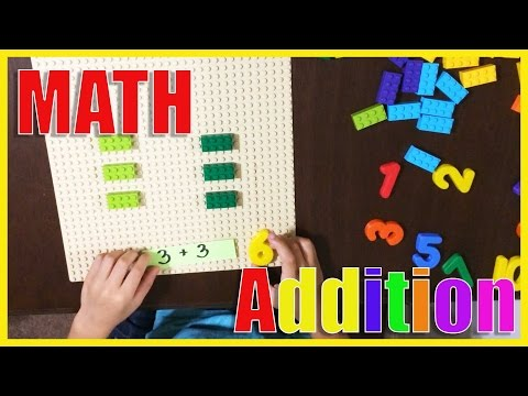 Learning numbers Basic Math Addition using Fridge number magnets and LEGOS