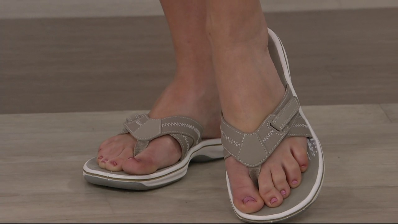 93ae79bffdae Clarks Adjustable Sport Thong Sandals - Brinkley Calm on QVC - YouTube