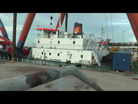 Europe's largest crane has arrived at the Port of Visby  It showcases 22 concrete, 20 caissons and t