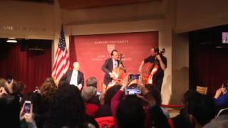 Yo-Yo Ma plays cello in the John F. Kennedy Jr. Forum