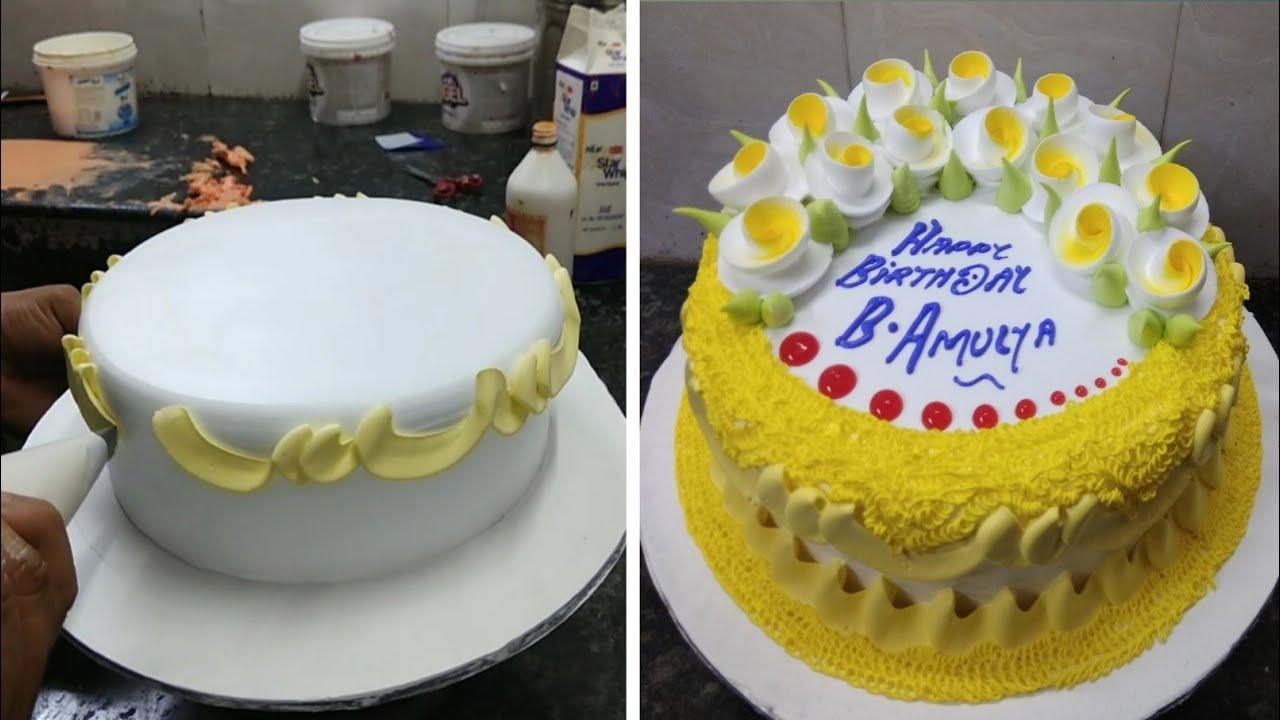 Pineapple Cake Recipe |Pineapple Birthday Flowers Cake Design |Simple Cake Design |New Cake Wala