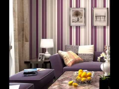 Purple wallpaper design ideas for living room youtube for Purple feature wallpaper living room