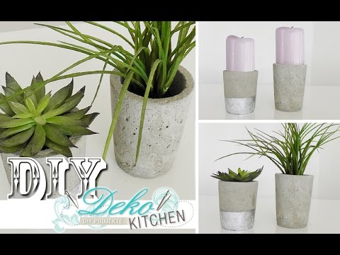 diy blumen bert pfe aus beton selber machen deko kitchen youtube. Black Bedroom Furniture Sets. Home Design Ideas