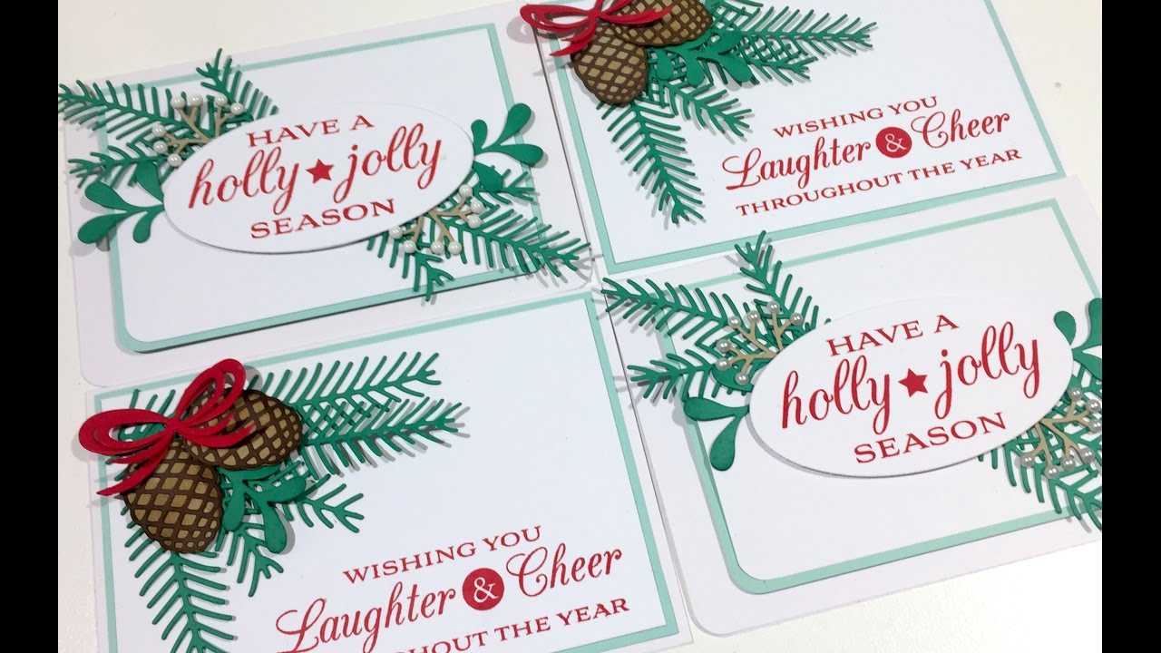 Card Making Process Video - Stampin up! Pretty Pines Christmas Cards ...