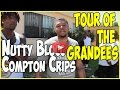 Nutty Blocc Compton Crip tour of Grandees area with Bay Locc (Geechi Gotti) & Hacc 3 (pt.1of2)