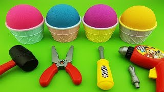 Kinetic Sand Ice cream cups Surprise toys ABC song for kids Kinder surprise eggs Mickey Mouse tools