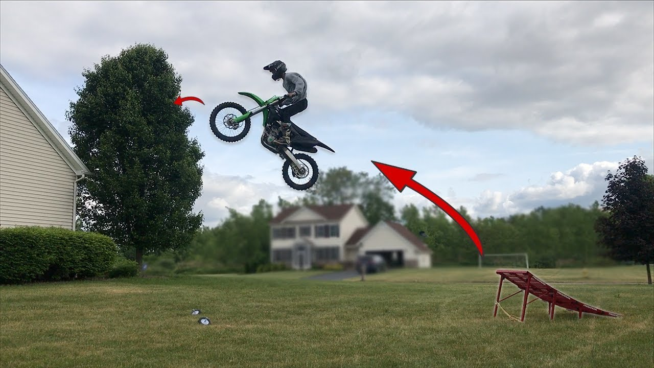 Dirt Bike Ramp >> Insane Backyard Dirt Bike Freestyle Ramp Youtube
