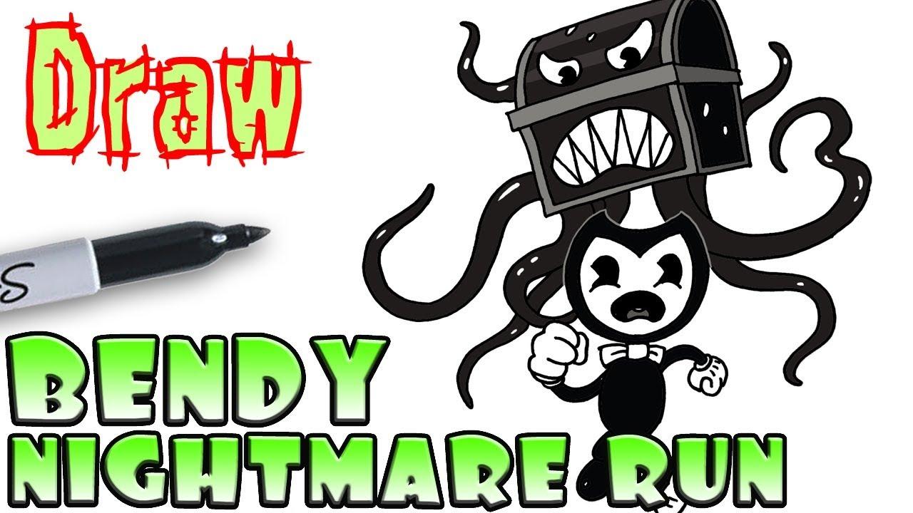 How to Draw Bendy in Nightmare Run - YouTube