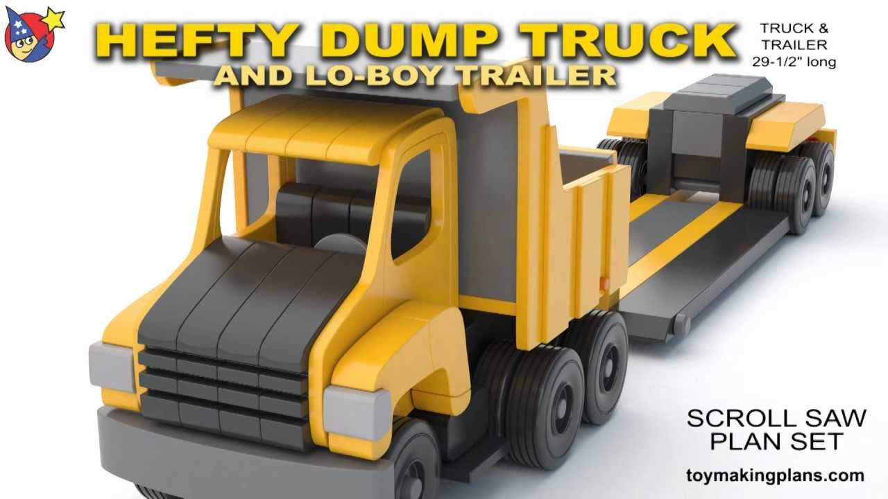 wood toy plans - hefty dump truck and trailer