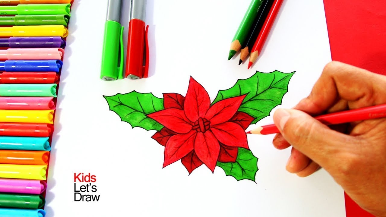 C mo dibujar una flor de navidad paso a paso how to for Adornos con plantas de nochebuena