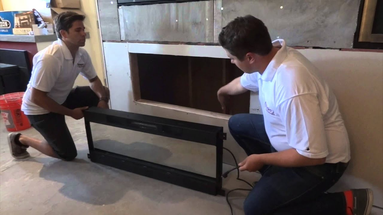 Electric Fireplace Built Into Wall How To Install A Napoleon Nefl50fh Modern Electric Fireplace Linear Into A Wall Mount