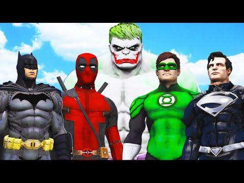HULK-JOKER vs SUPERHEROES (Batman, Black Superman, Green Lantern, Deadpool)