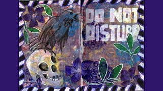 Raven and periwinkle art journal spread speed paint with mixed media