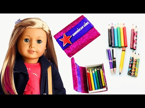 how-to-make-american-girl-pencils,-pens-and-pencil-case---easy-doll-crafts---simplekidscrafts
