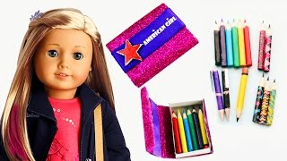 How To Make American Girl Pencils, Pens And Pencil Case - Easy Doll Crafts