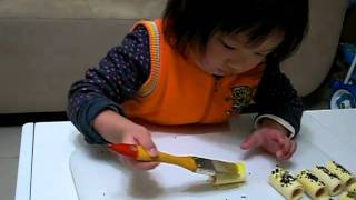 2011/01/16 熱狗捲DIY(3.1才)