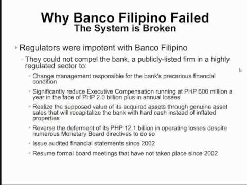 banco filipino failure Banco filipino, formerly known as banco filipino savings and mortgage bank started its operation on 1964 and is led by family founder thomas aguirre it is a savings and loan association and is also known for property developments increase of our understanding on what the management should and.