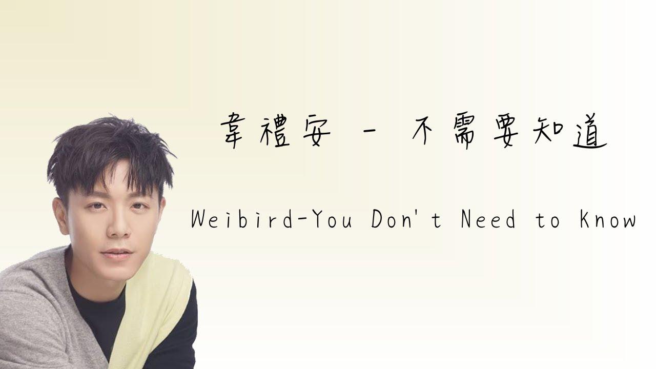韋禮安Weibird - 不需要知道 You Don't Need to Know - 電視劇【我的男孩】片尾曲 (Chinese/Rom Lyrics)