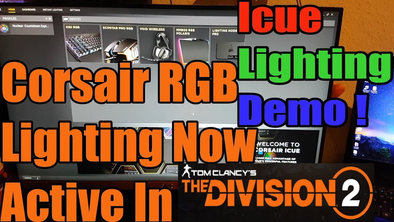The Division 2 Corsair Icue In Game RGB Lighting Effects ! Active During  Open Beta