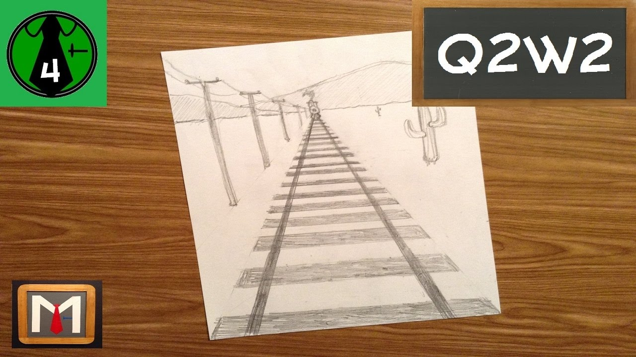 Using One Point Perspective To Draw Railroad Tracks Youtube