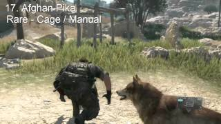 Metal Gear Solid 5 - All Animals Guide - Complete Animal Conservation Platform ( Zoo )