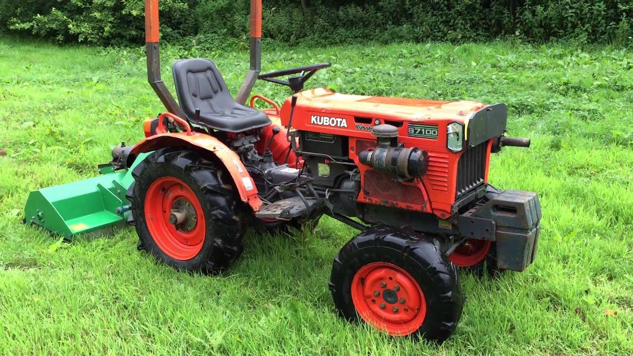 Kubota B7100 Backhoe : Kubota b wd compact tractor with flail youtube