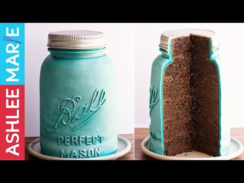 Mason Jar Cake Tutorial with Chocolate Raspberry Jam Filling