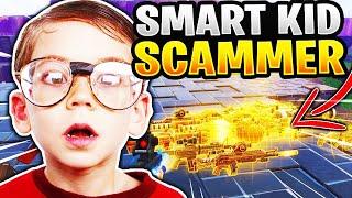¡El niño inteligente es estafado por todo su inventario! (Scammer consigue estafado) Fortnite Save The World