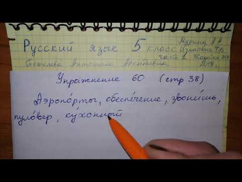 Упр 60 стр 38 Русский язык 5 класс 1 часть Мурина 2019 гдз ударение в словах
