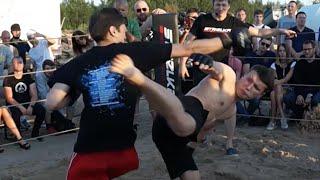 Боксер против бойца из толпы на Бетонном Заводе