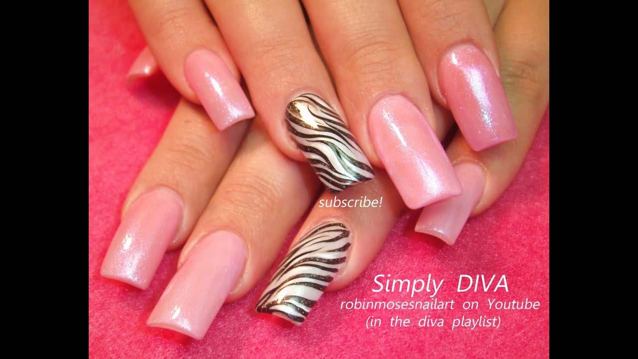 Easy Zebra Print Nail Art Design Tutorial Youtube