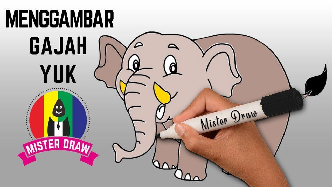 SUPER SIMPEL Cara Menggambar Dan Mewarnai Hewan Gajah