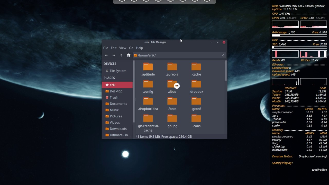 linux mint 18 xfce 24 desktop theming with conky, icons, theme and wallpaper