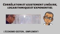 Corrélations et ajustements linéaire, logarithmique et exponentiel (IUT LE CREUSOT, DUT TC)