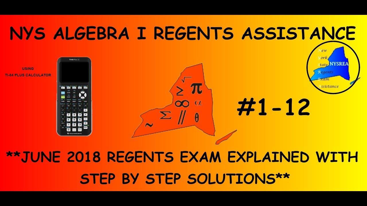NYS Algebra 1 (Common Core) June 2018 Regents Exam Answers ...