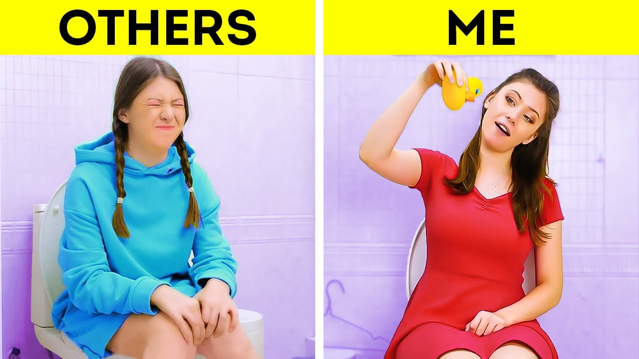 OTHER GIRLS vs ME👩🏻🦱👩🏻🦰 || Funny Restroom Moments, Bathroom Tricks, New Gadgets And DIY Soap