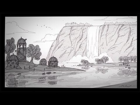 How to draw a waterfall city with narration youtube
