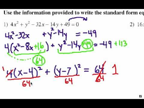 How To Complete The Square Ellipse Equations Youtube