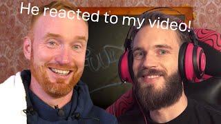 Reacting to PewDiePie Reacting to Me Reacting to Him!