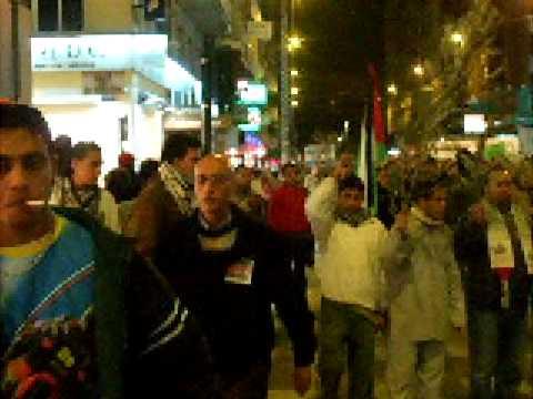 حجي في مظاهرة بإسبانيا تضامنا مع الشعب الفلسطيني TRIPLE KANON EN PROTESTA