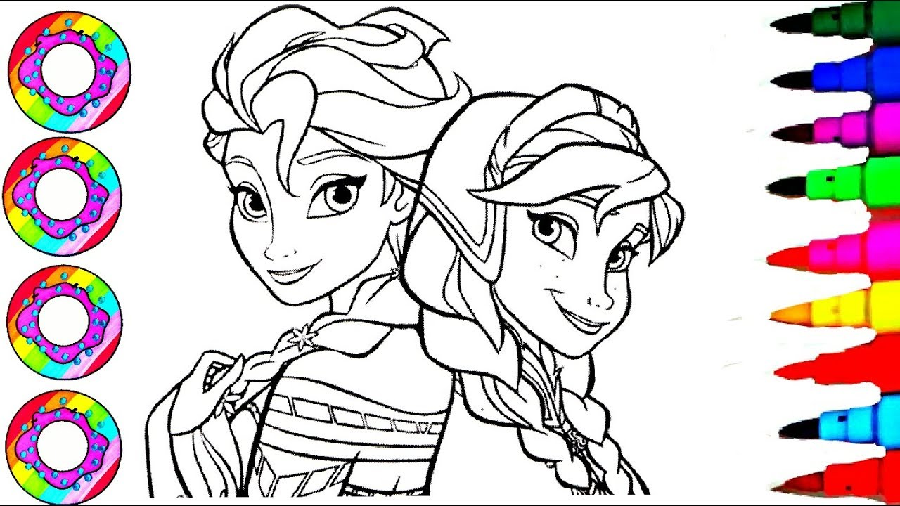 Colouring Drawings Disney Frozen Elsa Anna Rainbow Color Hair ...