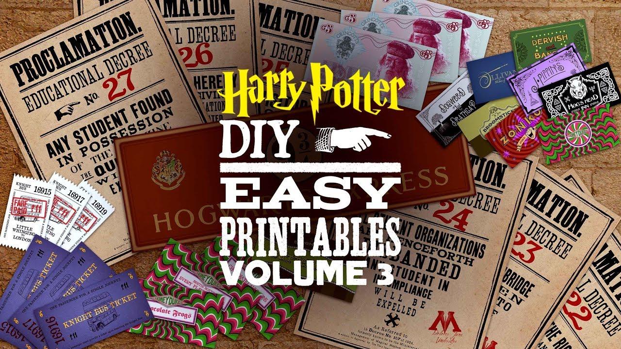 Harry Potter Printables Vol 3 Youtube