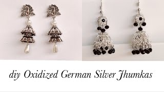 Making German Silver Earrings||Oxidized Silver Jhumkas With Bead Caps||Handmade Jhumkas