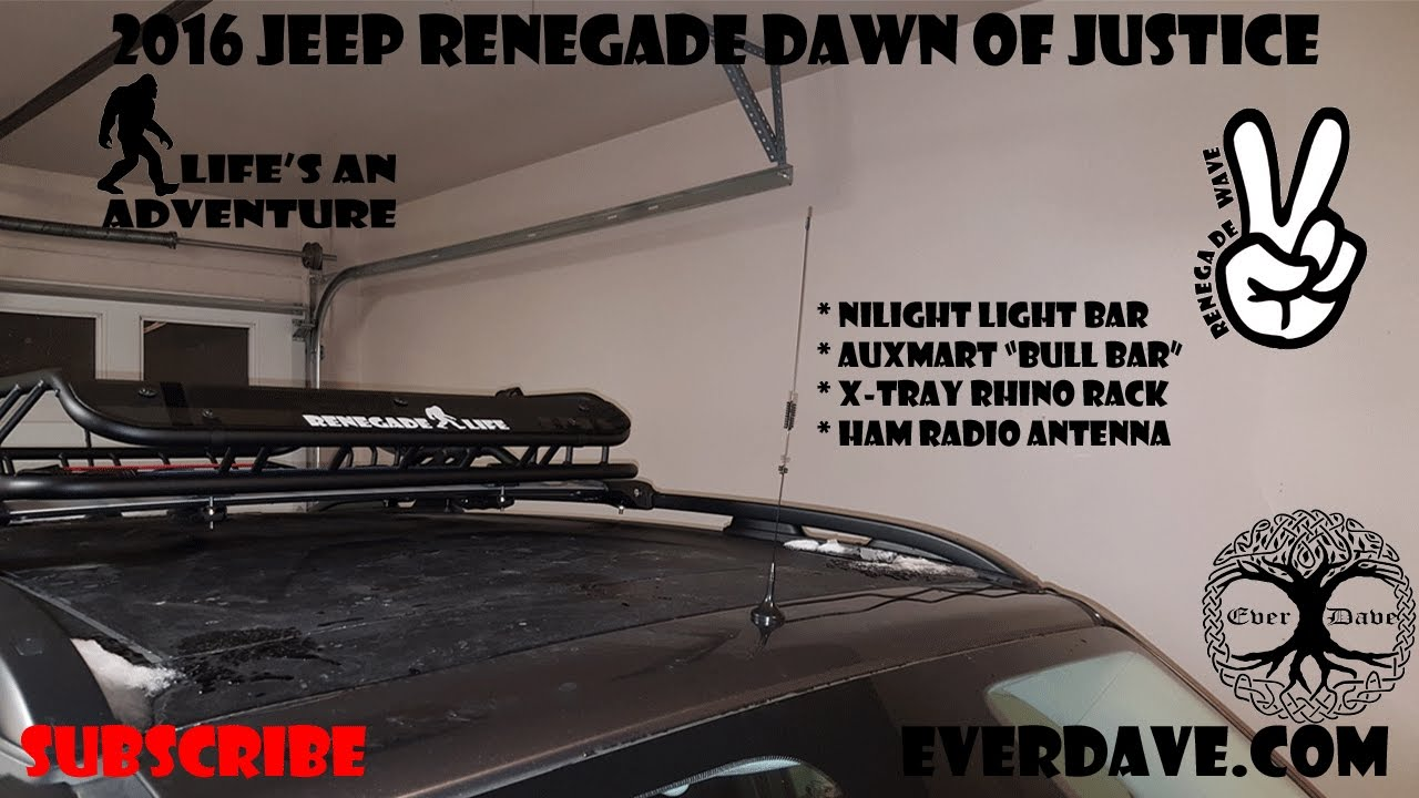 Baofeng UV-82 Ham Radio mobile antenna install - 2016 Jeep Renegade Dawn of  Justice