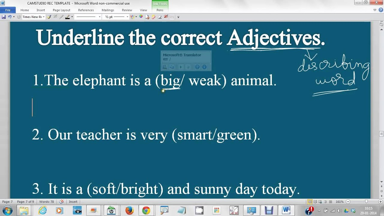 Underline The Correct Adjectives Describing Word For Class 1