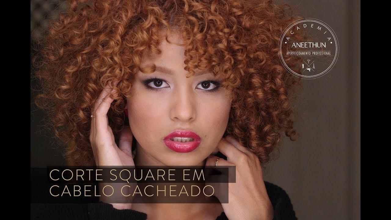 Como Fazer Corte Square Em Cabelo Cacheado Academia Aneethun Com Mabel Garcia