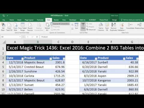 Excel Magic Trick 1436 Excel 2016: Combine 2 BIG Tables into 1 for PivotTable Report, No Power Pivot