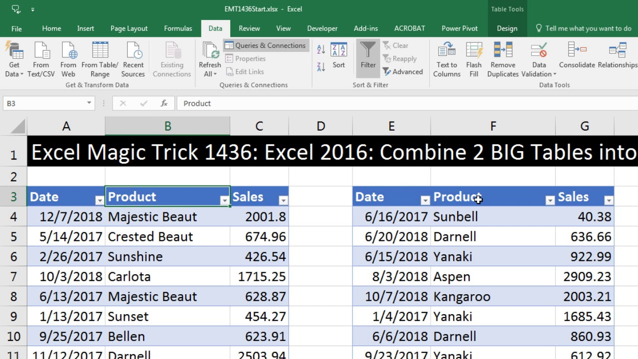 excel magic trick 1436 excel 2016 combine 2 big tables into 1 for