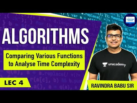 Algorithms lecture 4 -- comparing various functions to analy
